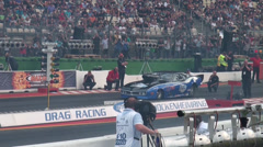 Drag Racing motor sports blue dragster at Hockenheimring Stock Footage