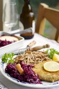 Tempeh schnitzel with red cabbage and wheat spaetzle - stock photo