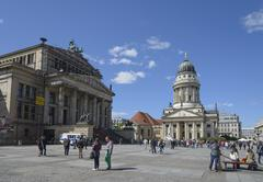 Germany, Berlin, Gendarmenmarkt, French Cathedral and concert hall - stock photo