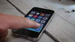 Browsing to google with Iphone 4S Stock Footage