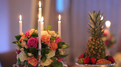 Decor Banquet Table (Topiary) Stock Footage