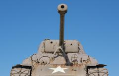 France, Normandie, Manche, Sainte Marie du Mont, Utah Beach US Sherman tank Stock Photos
