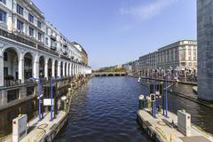 Germany, Hamburg, Little Alster, Shopping arcade Alsterarkaden left - stock photo