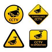 Video surveillance, set signs - stock illustration