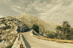 Croatia, Dalmatia, Biokovo, Mountain road at Sveti Jure Stock Photos