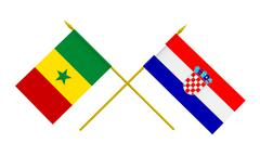 flags, croatia and senegal - stock illustration