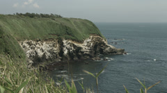 Jogashima view close up cliff, non color graded 4K (3840x2160) Stock Footage