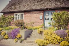 Saksa, Mecklenburg-Länsi-Pommerissa, Ruegen, Country House ja kukinta Kuvituskuvat