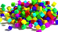 Falling colored cubes. - stock footage