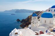Stock Photo of view of caldera with blue domes, Santorini
