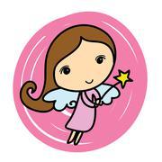 cute angel. cartoon vector illustration - stock illustration