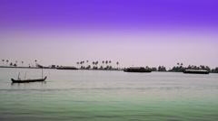 India. Houseboat on Kerala backwaters. Stock Footage