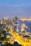 Germany, Hamburg, View on the harbor, Elbe river and Elbphilharmonie - stock photo