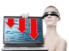 beautiful cyber woman with a laptop computer. red graphics going down on a sc - stock photo