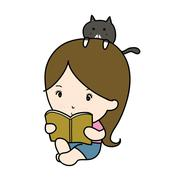a small girl reading book cartoon - stock illustration