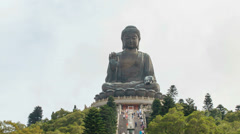 Time lapse of people climbing steps to Tian Tan Big Buddha at Ngong Ping 1080p - stock footage