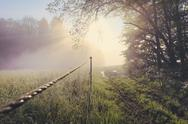 Stock Photo of Morning mist and sunrise