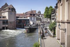 France, Alsace, Strasbourg, La Petite France, Quai des Moulins Stock Photos