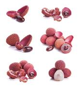 Collection of 6 lychee images Stock Photos