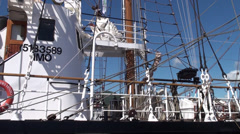 Deck of old sailing ship - stock footage