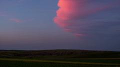 Sunset clouds flat Transylvania landscape HD Stock Footage