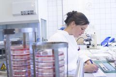 Female food analyst working in laboratory - stock photo