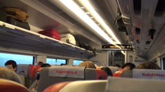 Travelling inside high-speed train Stock Footage