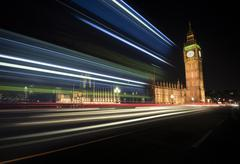 UK, London, Big Ben and Houses of Parliament, long time exposure Stock Photos