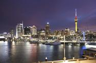 Stock Photo of New Zealand, view to Auckland at evening twilight
