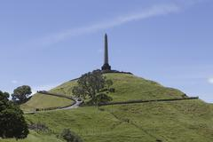 Stock Photo of New Zealand, view to Mount Eden with obelisk