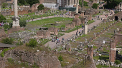 Rome, Italy, ruins of Roman Forum on Palatine hill. Stock Footage