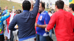 Uruguayan fans shout before the match Uruguay x England Stock Footage