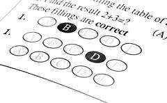 Exam answer sheet Stock Photos