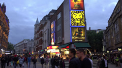 Theatre district at London Leicester Square - stock footage