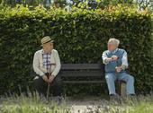 Stock Photo of Two old friends sitting on bench in park