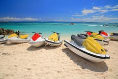 jetski on paradise island beach - stock photo