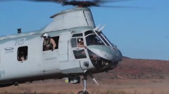 Parachuting out of CH-46 Sea Knight helicopters Stock Footage
