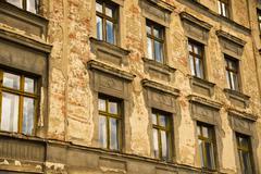 Germany, Saxony, Goerlitz, part of facade of abandoned multi-family house Stock Photos
