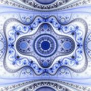 Symmetrical blue fractal flower, circle digital artwork Stock Illustration
