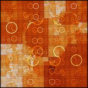 Symmetrical fractal, orange light, circle digital line Stock Illustration