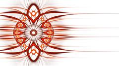 Symmetrical red fractal flower, circle digital artwork Stock Illustration