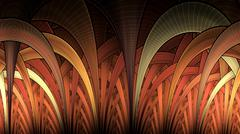 symmetrical fractal, red light, circle digital line - stock illustration