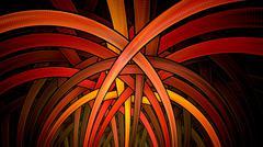 Symmetrical fractal, red light, circle digital line Stock Illustration
