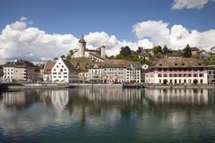 Switzerland, Canton of Schaffhausen, View of Schaffhausen with Munot Castle, Stock Photos