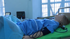 A virtual medical trainers, simulators, phantoms, mannequins and robots (CPR) Stock Footage