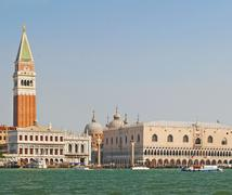 View from the grand canal to piazza san marco with campanile and doge palace Stock Photos