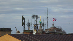 Antennas and transponders on the roof. 4K. Stock Footage