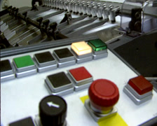 Offset printer in operation, panel with coloured buttons Stock Footage