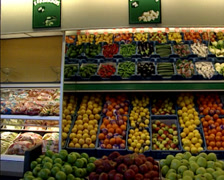Pan vegetable and fruit section in supermarket Stock Footage