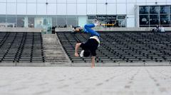 Boy dancing breakdance in Plzen in the Czech Republic. Stock Footage